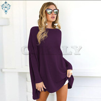 Ameision Fashion Loose Long Tshirt dress Women Casual long Sleeve O Neck irregular Dresses Plus Size pullover party Dress tops