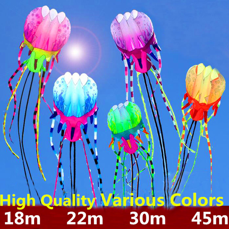 Free Shipping 18m Large Jellyfish Kites Line Outdoor Power Kite Flying Octopus Kite For Adults Open Kitesurfing Papalote 3d Kite