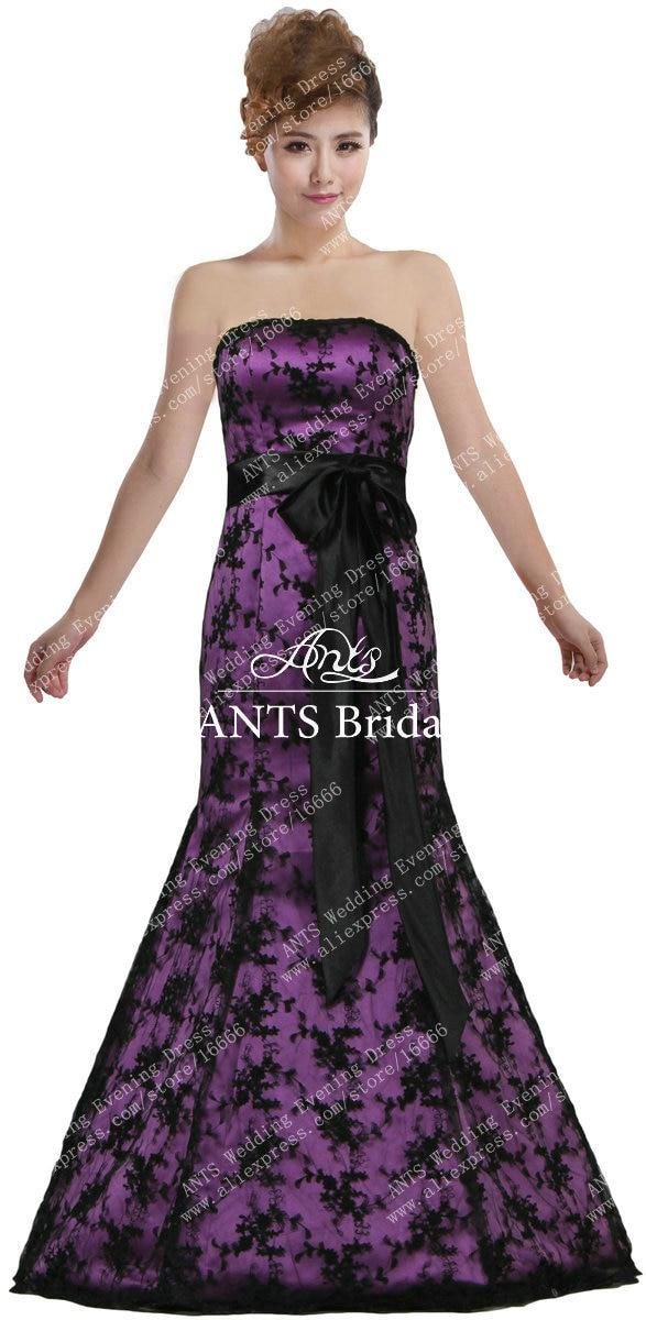 Vintage Strapless Purple Satin Black Lace Prom Dresses Mermaid R231