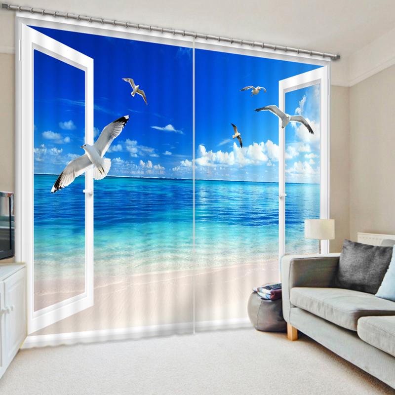 Office 3D Blackout Curtains Seagull Flying in a false Window Scenery Pattern Fabric children Bedroom Curtains