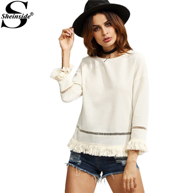 Sheinside  White Eyelet Crochet Insert Fringe Trim Top 2016 Fall Round Neck Long Sleeve Vintage Wear Blouse