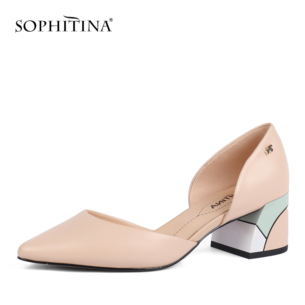 SOPHITINA Square Heel Shoes Pumps Special Comfortable Genuine-Leather Fashion Shallow