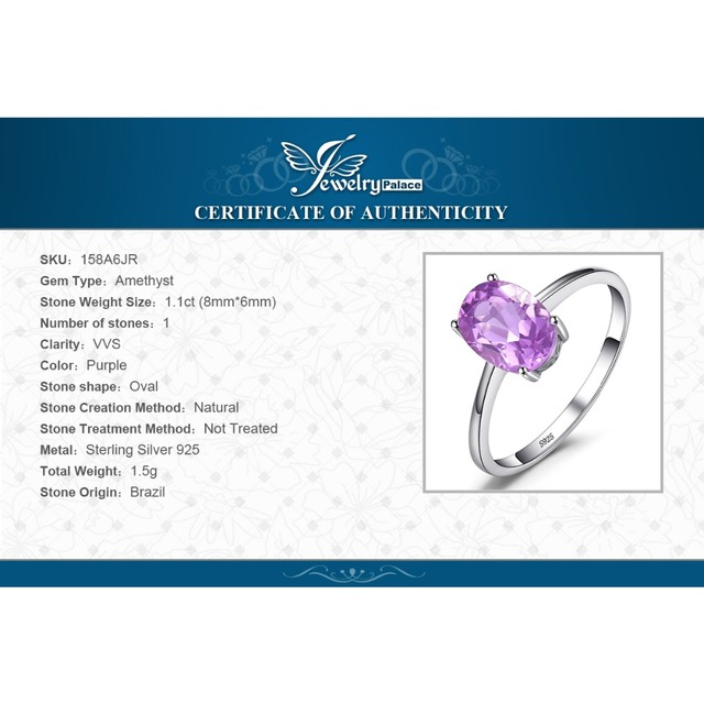 JewelryPalace Genuine Amethyst Ring Solitaire 925 Sterling Silver Rings for Women Engagement Ring Silver 925 Gemstones Jewelry 5