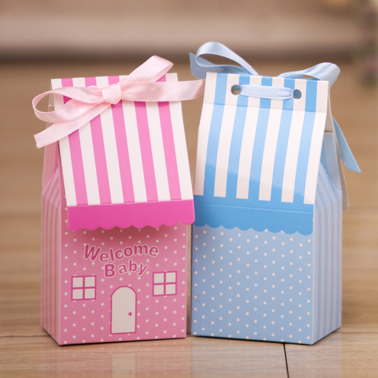 500pcs Small House Blue Pink Tie Ribbon Birthday Boy Baby Shower Favor Candy Treat Bag Wedding Favors Candy Box Gift Bags Event & Party Party Favors