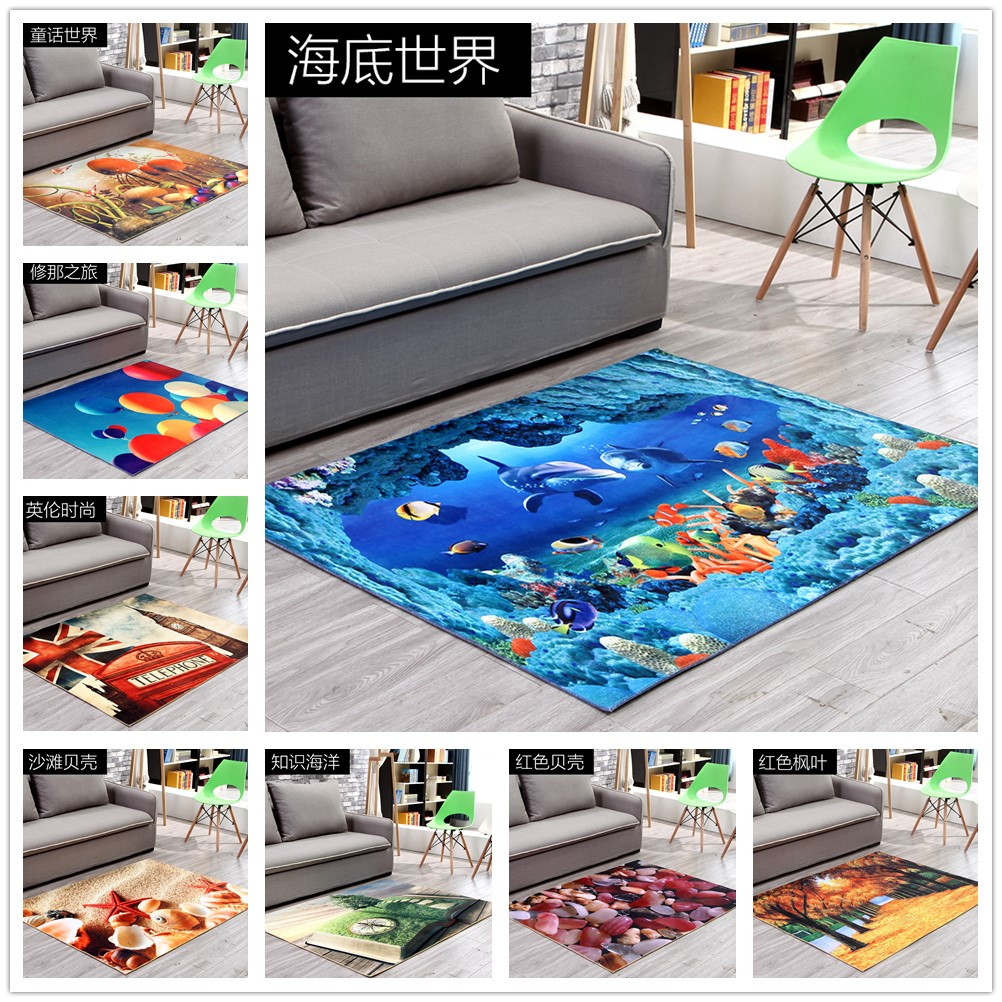 3D Cartoon Ocean World Shark Area Rug Non-Slip Mat Rugs Living Room Bedroom Carpet Children Room Decoration Fairy Tale Carpets