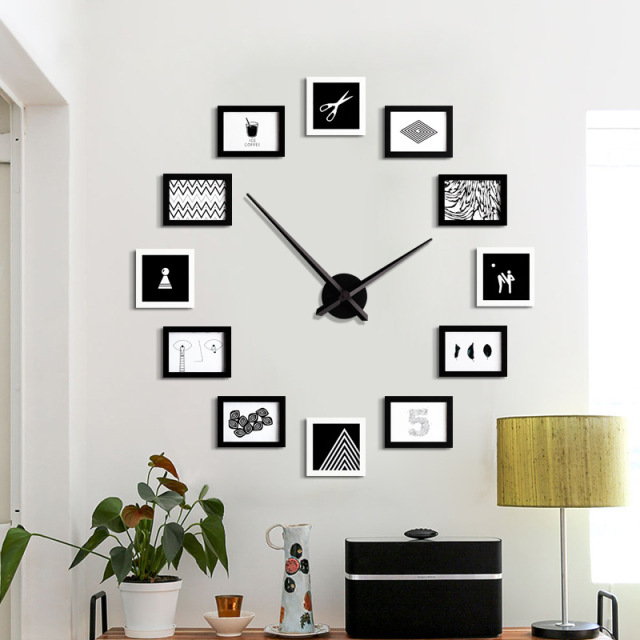 Large DIY Wall Clock Modern Design 12 Photo Frame Clocks Creative Show  Family Picture Big Wall