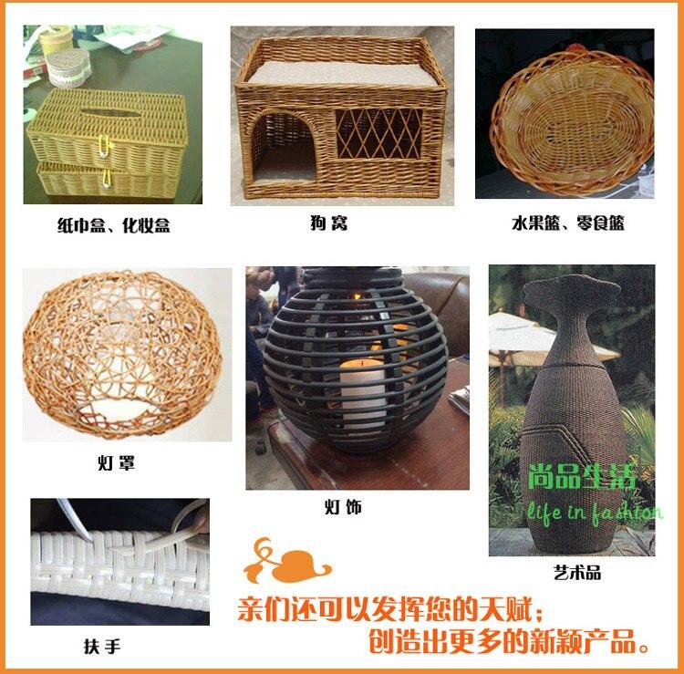 Caffè Verde Sintetica Piatta RATTAN Tessitura Materiale in plastica rattan