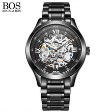 ANGELA BOS Luminous Mechanical Watches Men Wristwatches Military Stainless Steel Automatic Male Clock Brand Mens Watch Saat