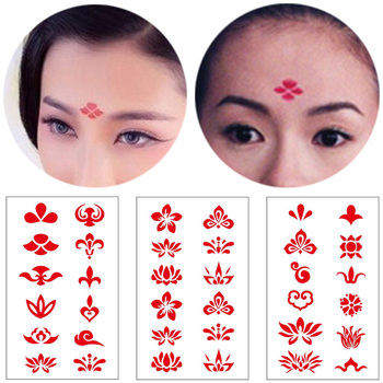 Charm Red Chinese Style Eyebrow Tattoo Stickers Fake Tatoo Body Art For Women Girl Like TV Drama Show image