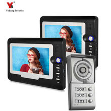 Yobang Security 7″ Color Video Intercom Apartment Door Phone System 2 Screen + 1 Doorbell Camera For 2 House Family Wholesale