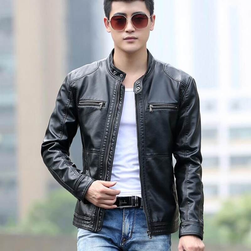0027b046a US $34.99 48% OFF|5XL Men's Leather Jackets Men Stand Collar Coats Male  Motorcycle Leather Jacket Casual Slim Brand Clothing Stand Collar COAT-in  ...