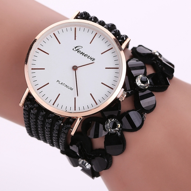 Fashion Geneva Flowers Watches Women Dress Elegant Quartz Bracelet Ladies Watch Crystal Diamond Wrist Watch Gift Reloj Mujer 1