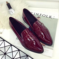2016 New Spring Vintage PU Leather Oxford Shoes for Women Slip-On Casual Brogues Shoes Oxfords Shoes zapatos mujer Size US 8