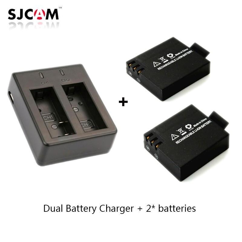 2pcs original SJCAM Sj4000 battery Sj5000 battery + Dual Battery Charger for SJCAM SJ4000 5000 Series Camera Accessories original sjcam 4000 series sj4000