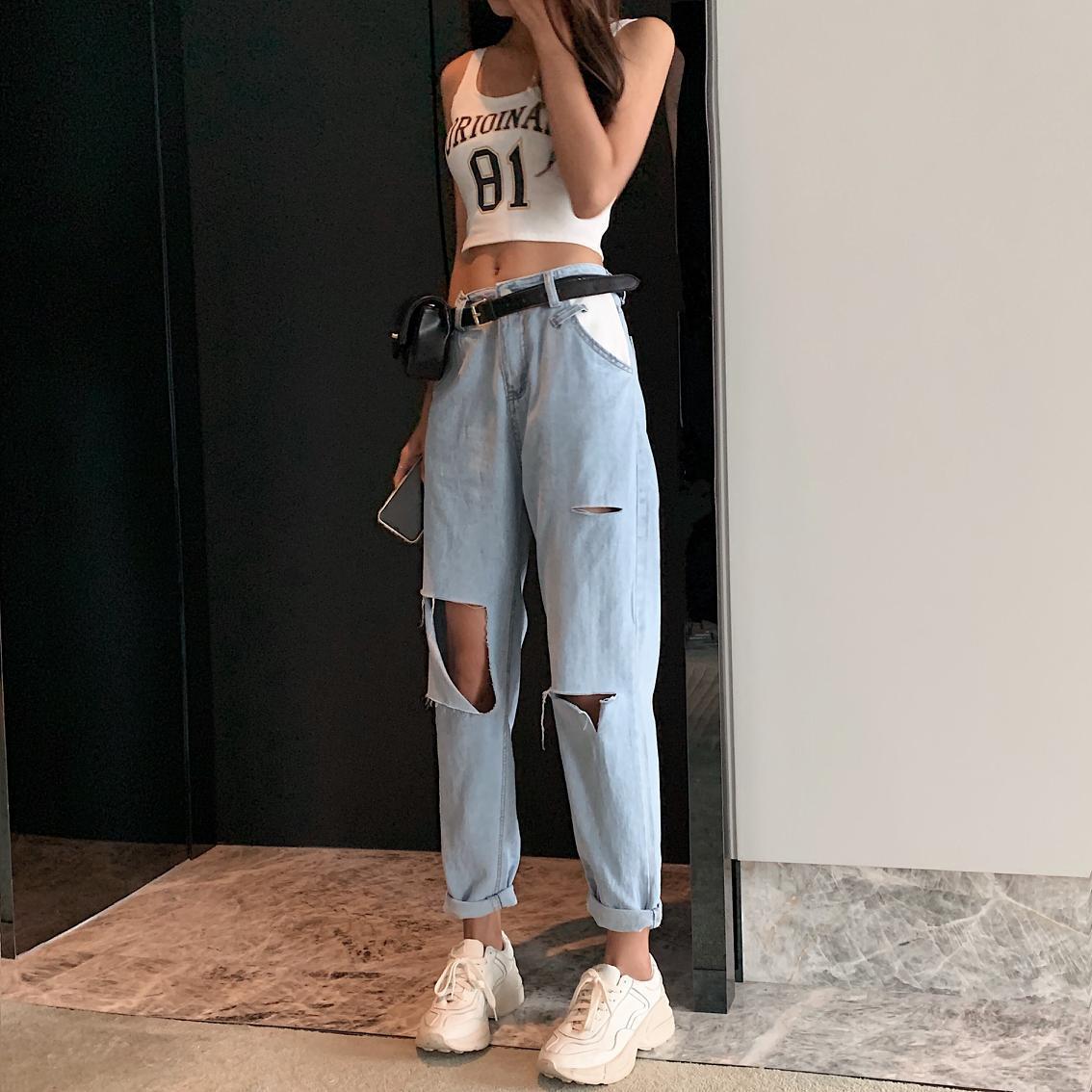 Kadın Giyim'ten Kot Pant.'de 2019 Yeni Tasarım kadın Kot Yüksek Sokak Yaz Gevşek harem pantolon Kadın Delik Kot Yüksek Bel Kadın Kot Pantol'da  Grup 1