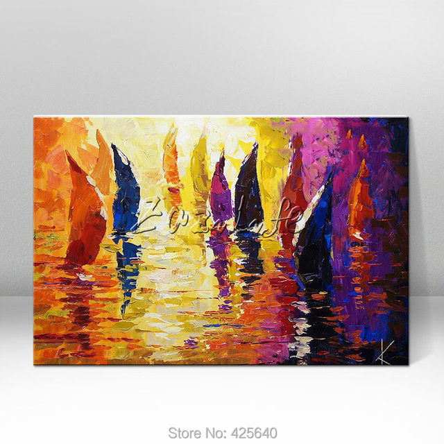 Hand painted abstract oil painting boat ship sailing canvas oil ...