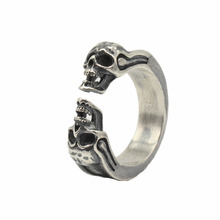 Одноцветное Серебро 925 готический панк черепа манжеты Группа Кольца Мужчины Женщины Real стерлингового серебра 925 Прохладный моды серебро 925 Bijoux