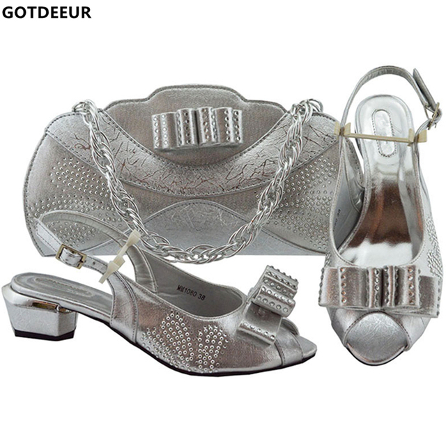 Italian Designer Shoes and Bags Matching Set Decorated with Appliques Shoes Woman Low Heel Women Shoes and Bag Set In Italy