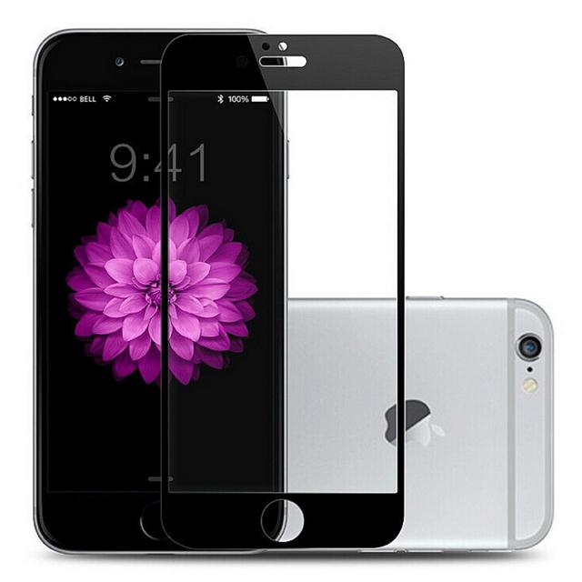 Completo blanco negro color hd resistente a los arañazos de la pantalla frontal de cristal templado de cine para iphone 6 plus protector de pantalla del smartphone película