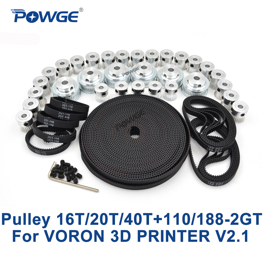 POWGE VORON 3D impresora V2.1 conjunto movimiento GT2 materiales a 2GT polea diámetro 5mm 16 T/20 t/40 T y 110-2GT 188-2GT bucle abierto cinturón