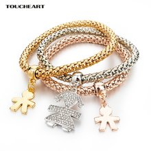 Женский многослойный браслет с кристаллами золотистого цвета