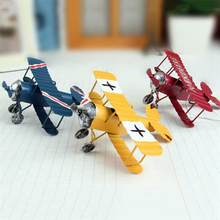 3pcs/Lot Metal Plane Iron Aircraft Decoration Glider Biplane Aeromodelo Antique Ornaments Handicraft Crafting Home Decoration(China)