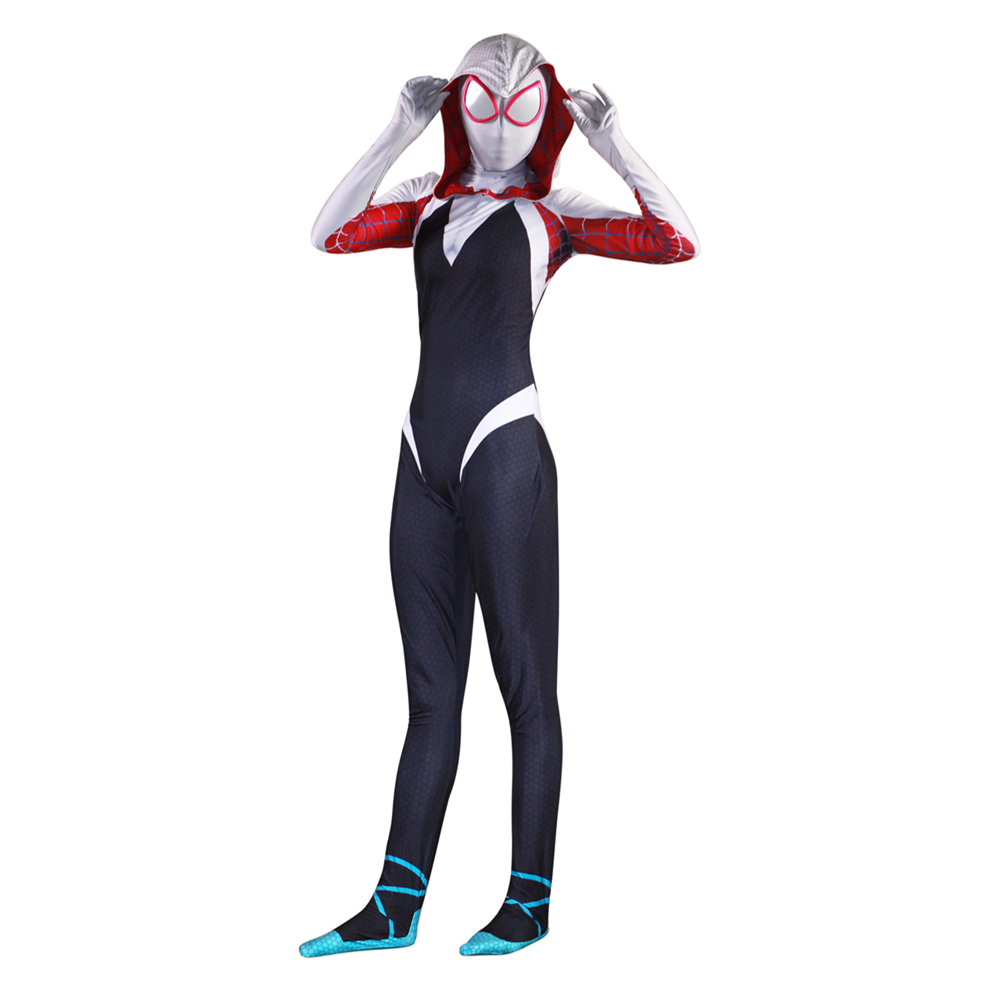 New 3D Women Gwen Stacy Spider-man Cosplay Costume Spiderman Zentai Superhero Bodysuit Suit Jumpsuits