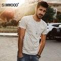 Simwood 2017 nova primavera verão t camisas moda masculina tees td1129 ondulação slim-manga curta trecho do vintage