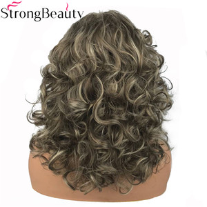 Image 4 - StrongBeauty Womens Long Curly Highlights Wigs Synthetic Wig Capless Hair