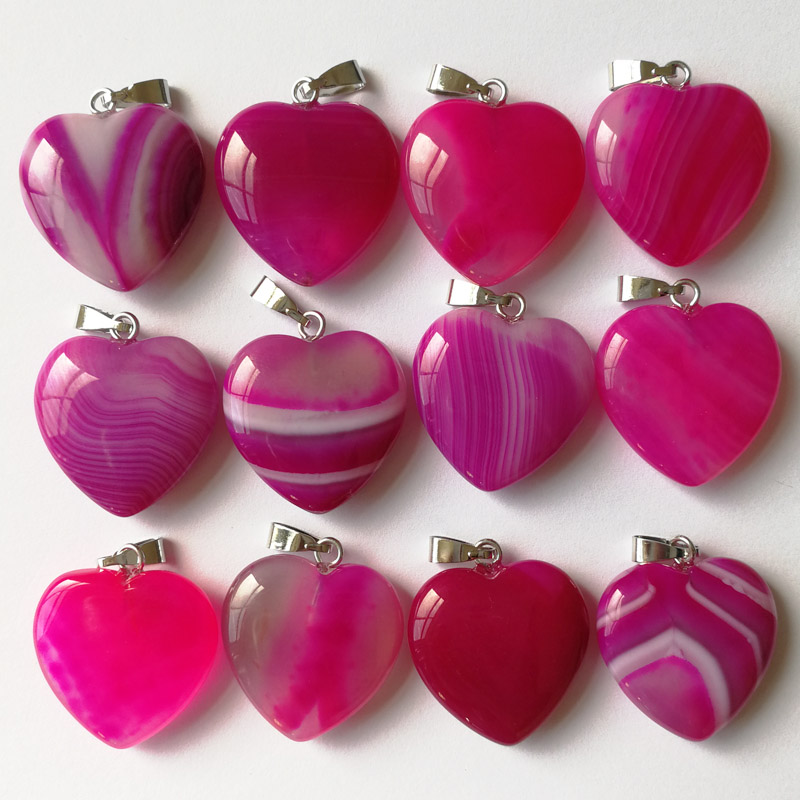 Fashion Hot Sale 2018 Natural Stone Rose Red Onyx Agates Heart Pendants & Necklace Women For Jewelry Making Free Shipping 36pcs