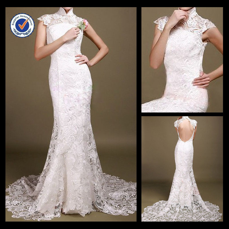 Sh0081 Custom Made Vintage High Collar Lace Wedding Dress