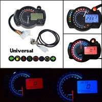 Mayitr 1pc Universal Motorcycle Meter Multifunction LCD Digita Tachometer Speedometer Odometer 15000rpm Adjustable MAX 199KM/H