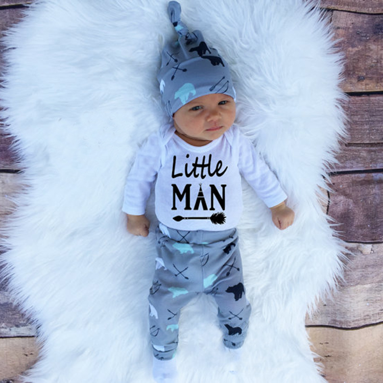 2017 Autumn new baby boy clothes set cotton long-sleeved Romper + trousers + hat 3 pcs. newborn baby boy clothes set SY161