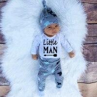 2016 Autumn New Baby Boy Clothes Set Cotton Long Sleeved Romper Trousers Hat 3 Pcs Newborn
