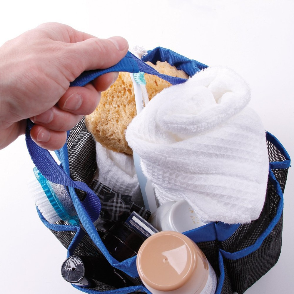 ... 8 Pocket Mesh Bath Shower Caddy Cloth Storage Box Travel Tote Handle  Bathroom Bag  For ...