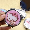 Cartoon Cute hello Kitty Cat Girls Women's mini  Pocket Mirror Cartoon Cosmetic Makeup Compact  Travel Portable roundness Mirror