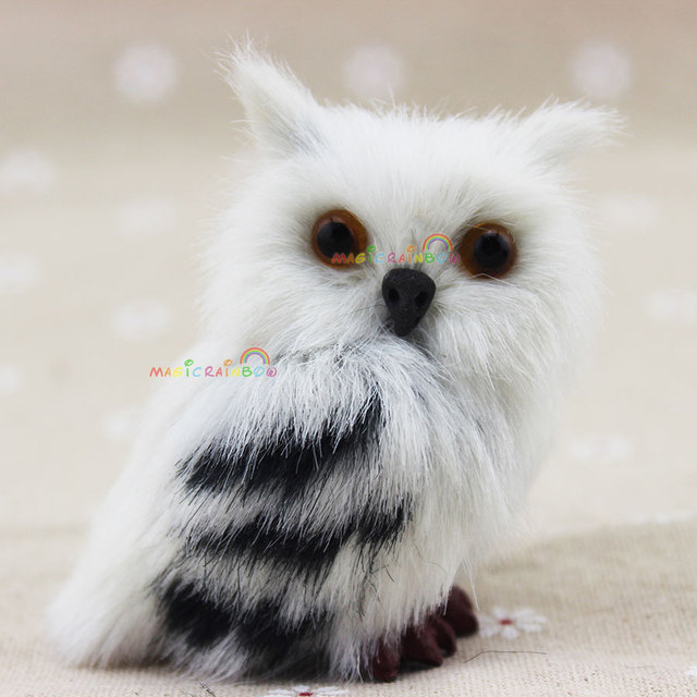 mini owl white black furry christmas ornament decoration adornment simulation hair height 27 inch 70mm