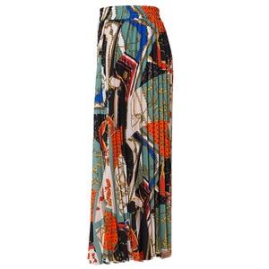 Image 2 - 2021 New Fashion High Waist Pleated Skirt Women Spring Summer Midi Skirts Womens Elastic Waist A Line Long Skirts For Women Rok
