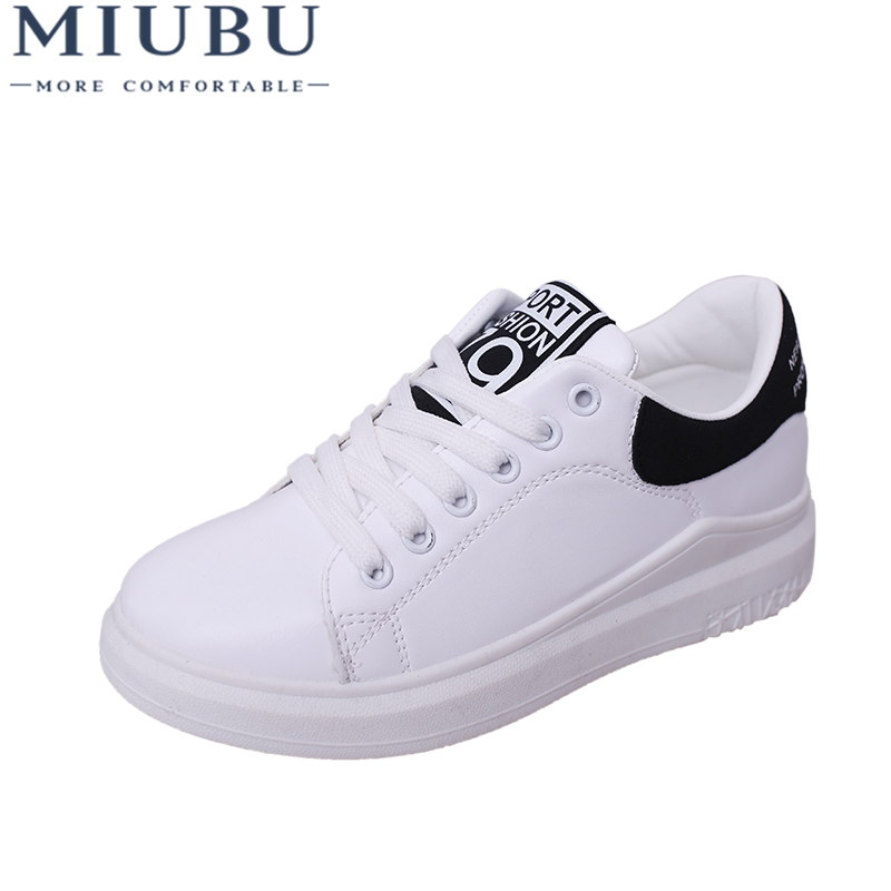 MIUBU Superstar Shoes Woman White Sneakers Solid Hard-wearing Causal Shoes Lace-up Cross Straps Non-slip Womens Shoes Round Toe