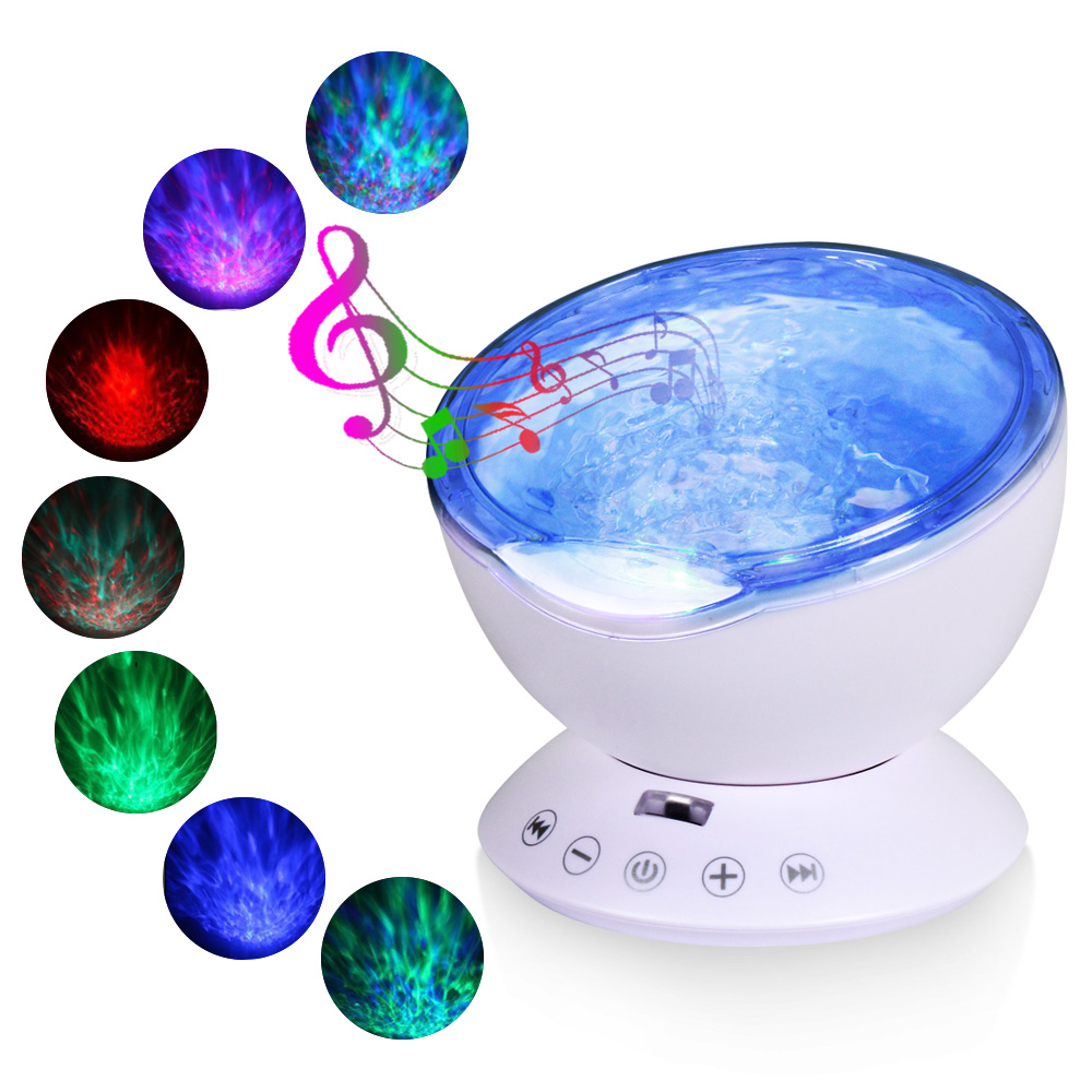 Remote Control Ocean Waves Projector Starry USB Creative Decorative Lamp Bluetooth Audio Music Player Kids Room Party Decoration