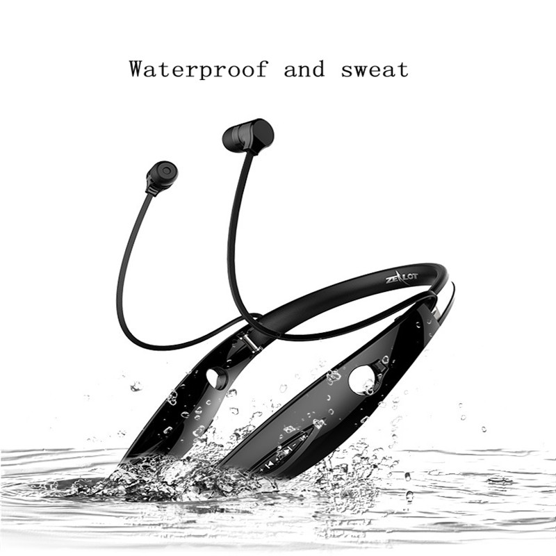 ZEALOT H1 Sweatproof Neckband Sport Stereo Bluetooth Earphone Wireless Headphone Running Headset With Microphone hbs 760 bluetooth 4 0 headset headphone wireless stereo hifi handsfree neckband sweatproof sport earphone earbuds for call music