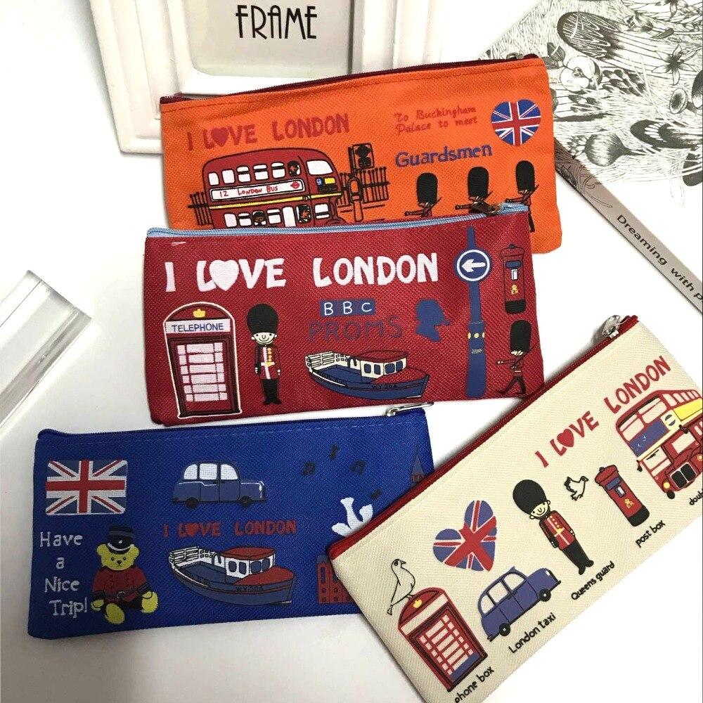 London Style Pencil Pen Case Cosmetic Makeup Bag Pouch Holder Women Cosmetic Bags Fresh Purse Zipper Coin Case Free Shipping