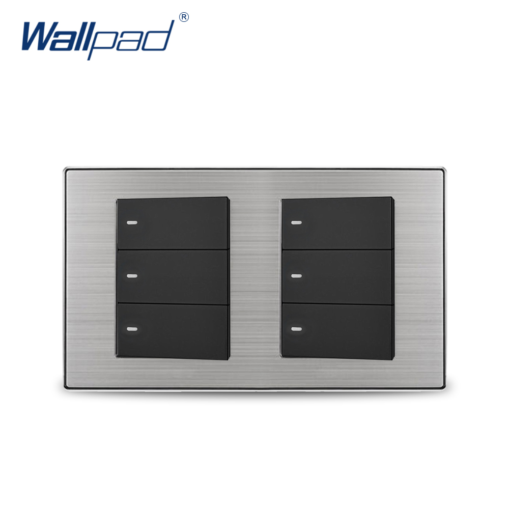 2018 Wallpad 6 Gang Reset Momentary Contact Switch Wall Light Switch Satin Metal Panel 160*86mm цена и фото