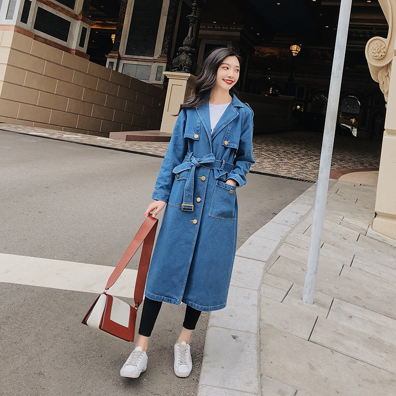 Spring And Autumn New Pattern Denim Windbreaker Woman Long Trench Coat Bf Wind Overknee Outwear Loose Coat Female Overcoat