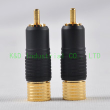 1pair RCA Plug Male Solder Locking Gold Plated  Audio For Guitar Tube amplifier