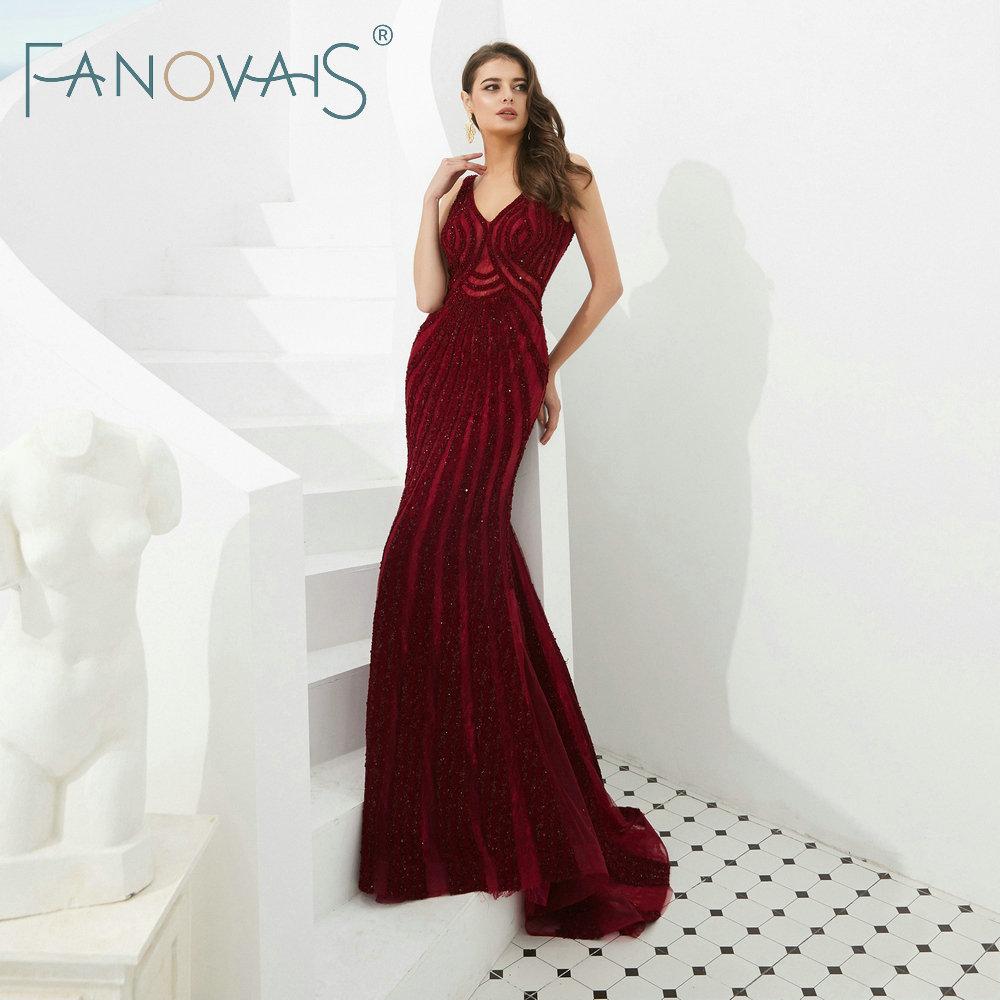 Robes De soirée bordeaux longues robes De soirée De luxe Robe De soirée Robe De Fiesta robes De bal 2019 Robe d'occasion spéciale