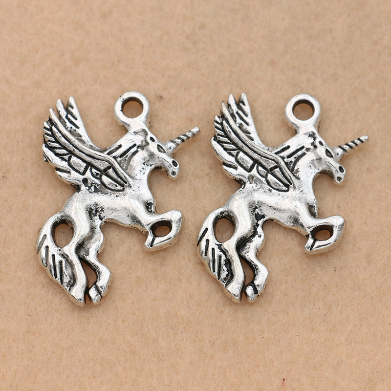 5pcs Antique Silver Plated Unicorn Charms Pendants Jewelry Making Bracelet Jewelry Findings Handmade 32mm Complete Range Of Articles