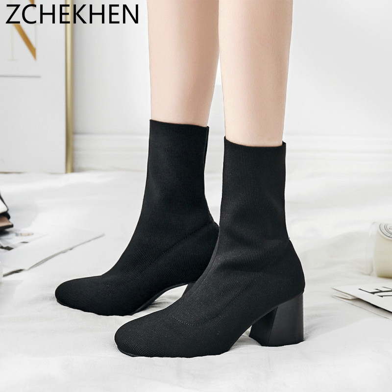 European Fashion Ankle Elastic Sock Boots Chunky High Heels Stretch Women Autumn Sexy Booties Pointed Toe Women Pumps jady rose stretch fabric autumn booties chunky high heels pointed toe ankle boots knit sock rubber women high boot women pumps