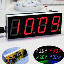 2015 Hot Sale DIY 4 Digit Electronic Large Screen LED Clock Kit Red/Blue/Green 3 Color LED Kit Free Shipping