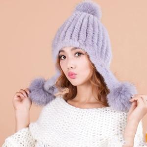 2017 Winter pompom hat for women Genuine mink fur natural fur warm hat Real fur pompom Beanies cap with Fox fur ball bobble hat